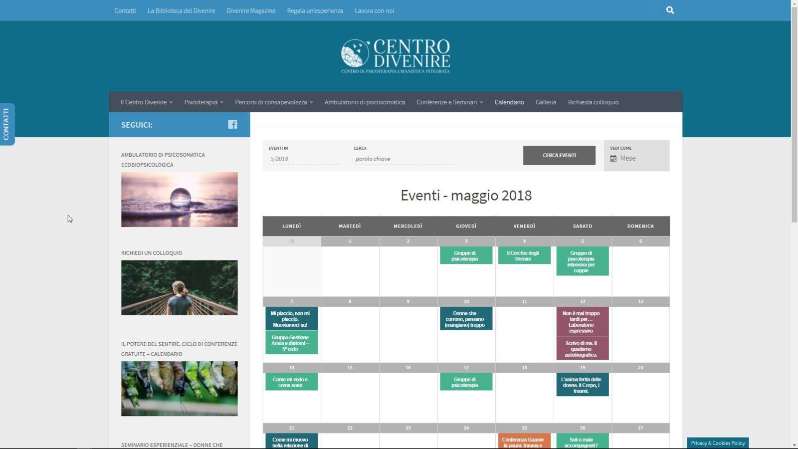 SITO INTERNET CENTRO DIVENIRE - CALENDAR