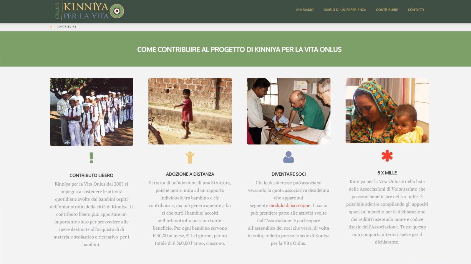 Web site Kinniya per la Vita ONLUS - Memory Slash Vision studios